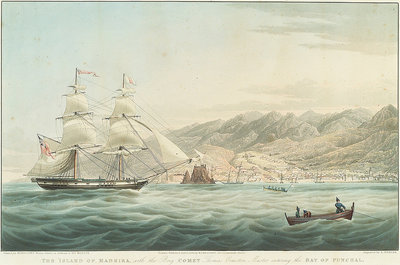 The Island of Madeira with the Brig Comet Thomas Ormston Master entering the Bay of Funchal by William John Huggins - print