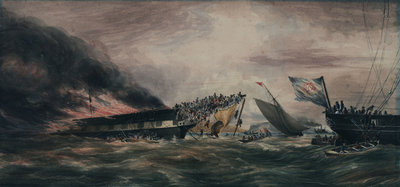 Burning of the Ocean Monarch, emigrant ship, 24 Aug 1848 by Prince de Joinville - print