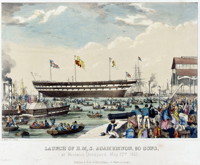 Launch of HMS 'Agamemnon', 90 guns, at Woolwich Dockyard, 22 May 1852 by A. Pernet - print