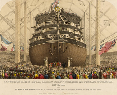 Launch of HMS 'Royal Albert' screw steamer, 131 guns, at Woolwich, 13 May 1854 by Read & Co - print