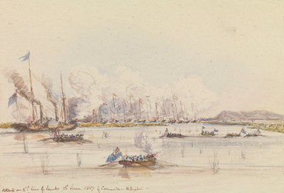 The action in Fatshan Creek by Oswald Walter Brierly - print