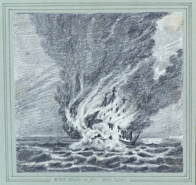 HMS 'Alceste' on fire, Pulo Leat Fine Art Print by C. W. Browne