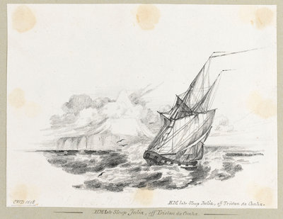 HM late sloop 'Julian' off Tristan da Cunha Fine Art Print by C. W. Browne