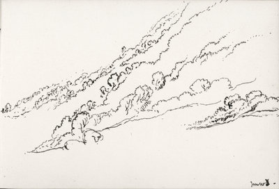 Sketch of hilly wooded landscape (on reverse and inverted) by John Brett - print