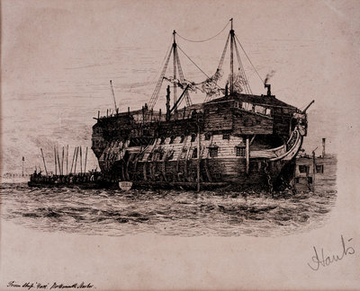 Prison Ship 'York' in Portsmouth Harbour by Edward William Cooke - print
