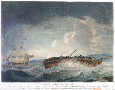 Destruction of Le Droits de L'Homme... Frigates in Hodierne Bay near Brest, with the 'Indefatigable' (1784)... throwing up rockets... 13 Jan 1797 by Robert Dodd - print