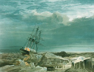 HMS 'Investigator' trapped in the ice, 8 October 1850 by S. Gurney - print