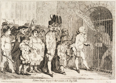 Election - Troops, bringing in their accounts to the Pay-Table (sailors voting for Lord Hood) by James Gillray - print