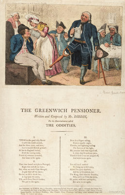 The Greenwich Pensioner Written and composed by Mr Dibdin, For his Entertainment called The Oddities by Isaac Cruikshank - print