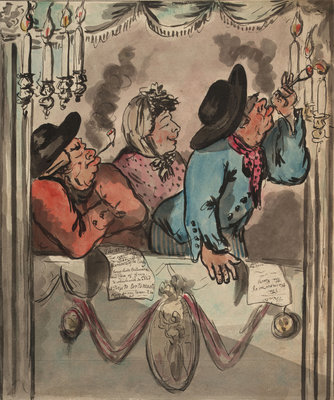 Three figures in a box at the theatre by George M. Woodward - print