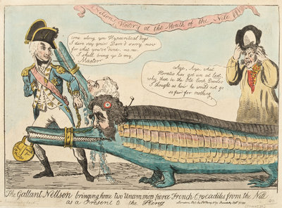 The Gallant Nelson bringing home two Uncommon fierce French Crocodiles from the Nile as a Present to the King by Isaac Cruikshank - print