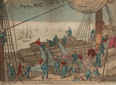 The Ceremony of Shaving as Performed on Young Sailors by George Cruikshank - print