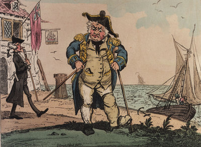 View of an admiral on crutches by George Cruikshank - print
