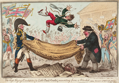 The - high - Flying Candidate, (i.e. Little Paul-Goose, ) mounting from a Blanket (Hood) by James Gillray - print