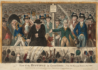 View of the Hustings in Covent Garden - Vide, The Westminster Election, Novr 1806 by James Gillray - print