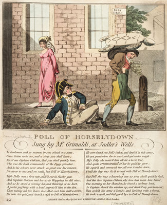 Poll of Horselydown Sung by Mr Grimaldi, at Sadlers Wells by Isaac Cruikshank - print