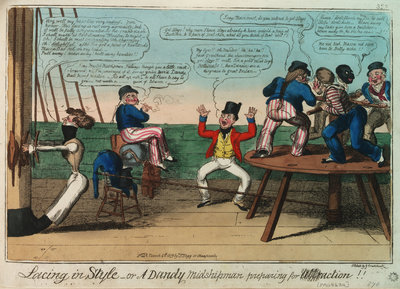 Lacing in Style - or A Dandy Midshipman preparing for action by George Cruikshank - print