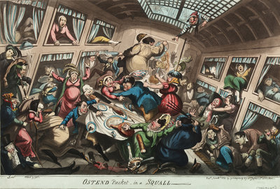 Ostend Packet in a Squall by George Cruikshank - print
