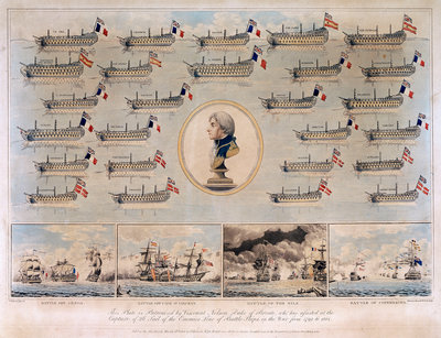 Ships captured by Nelson 1793-1801 and Battle of Genoa, Battle off Cape St Vincent, Battle of the Nile and Battle of Copenhagen by Thomas Buttersworth - print