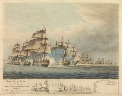 The China fleet heavily laden commanded by Commodore Sir Nathaniel Dance beating off Admiral Linois and his squadron the 15 February 1804 by Thomas Buttersworth - print