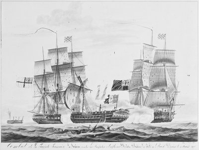 Capture of French frigate 'La Junon', 10 February 1817 by Pelley - print