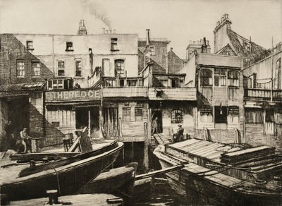 Repairing Lighters Lyme house [Limehouse], 1937 by Norman Janes - print