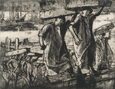 Billingsgate fish porters, 1920 by Frank William Brangwyn - print