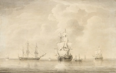 The taking of the 'Nuestra Senora de les Remedios' by the 'Prince Frederick', 'Duke' and 'Prince George' Privateers, 5 February 1746 by Charles Brooking - print