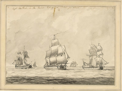 Captain MacBride in the 'Artois' taking two Dutch privateers by Dominic Serres the Elder - print