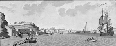 Mahon and the arsenal (with Spanish man-of-war on right) by unknown - print