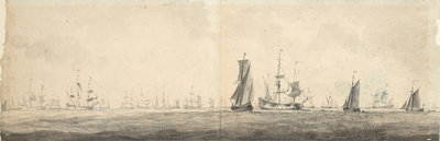 Dutch fleet by Willem van de Velde the Elder - print