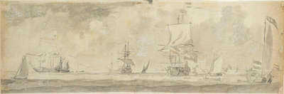 Dutch vessels at sea by Willem van de Velde the Elder - print