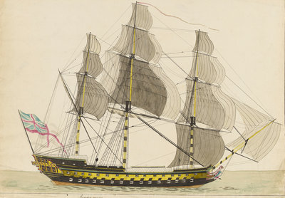 HMS 'Semiramis', built Deptford 1808 by unknown - print