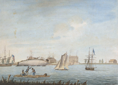 'No 4. Thetis Feby 1795 - Repairing at Gosport in Virginia by George Tobin - print