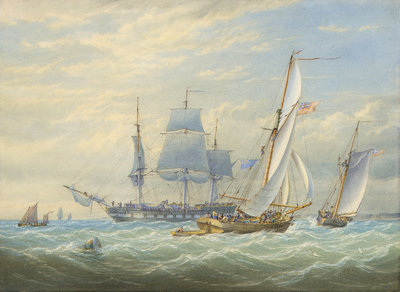 Two cutters under sail and a ship at anchor by John Cantiloe Joy - print