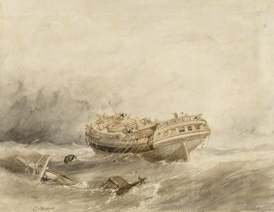 Dismasted merchantman drifting in a calm after a storm by Clarkson Stanfield - print
