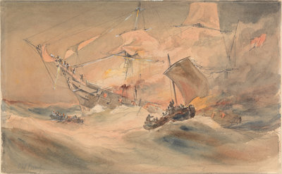 600 lives rescued from the 'Connaught' by the American ship 'Minnie Shiffe'r in the Atlantic, 8 October 1860 by Oswald Walter Brierly - print