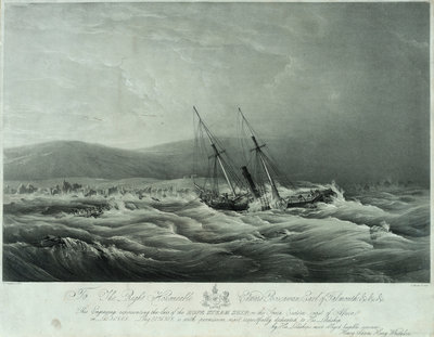 The loss of the steam ship 'Hope' steam ship on the south eastern coast of Africa by William John Huggins - print