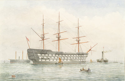 HMS 'Victory' in calm water near a coast by John Wilson Carmichael - print