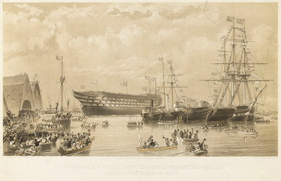Launch of HMS 'Royal Albert' by Thomas Goldsworth Dutton - print