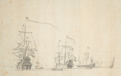 Dutch ships lying by by Willem van de Velde the Elder - print