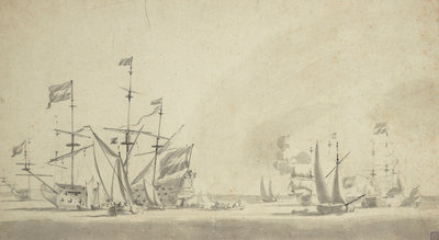 Dutch rear squadron at anchor by Willem van de Velde the Elder - print