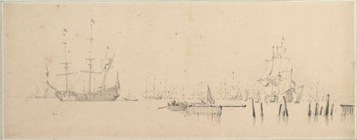 Dutch ships at anchor in harbour by Willem Van de Velde the Younger - print