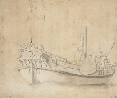 Portrait of a Dutch yacht by Willem Van de Velde the Younger - print