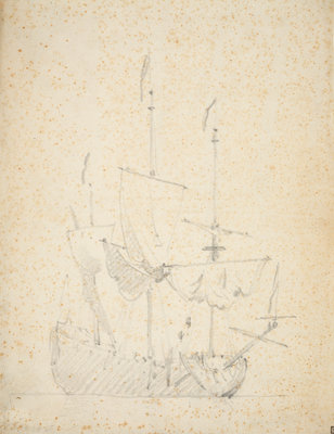 An English ship drying sails by Willem Van de Velde the Younger - print