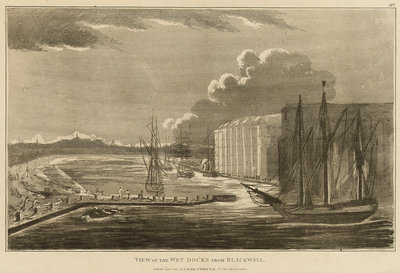 View of the wet docks from Blackwall by Robert Laurie & James Whittle - print