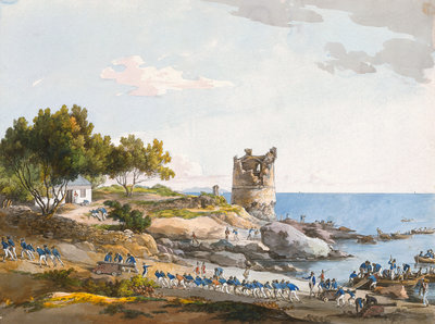 Blue jackets landing artillery and ammunition on Corsica by unknown - print