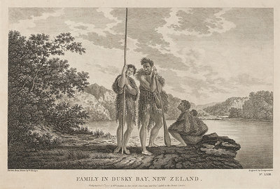 Family in Dusky Bay, New Zealand by William Hodges - print