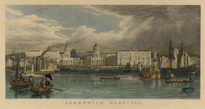 A royal visit to Greenwich Hospital by William Havell - print