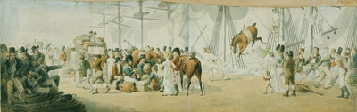 Embarking troops and horses at Margate, circa 1800 by John Augustus Atkinson - print